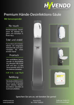 Hyvendo Angebot Premium Desinfektions Säule Sensorspender